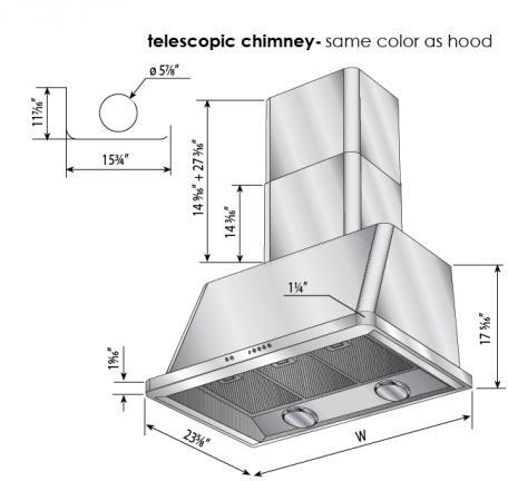 Ilve Majestic UAM90RB Wall Mount Range Hood Red, Dimensions Diagram