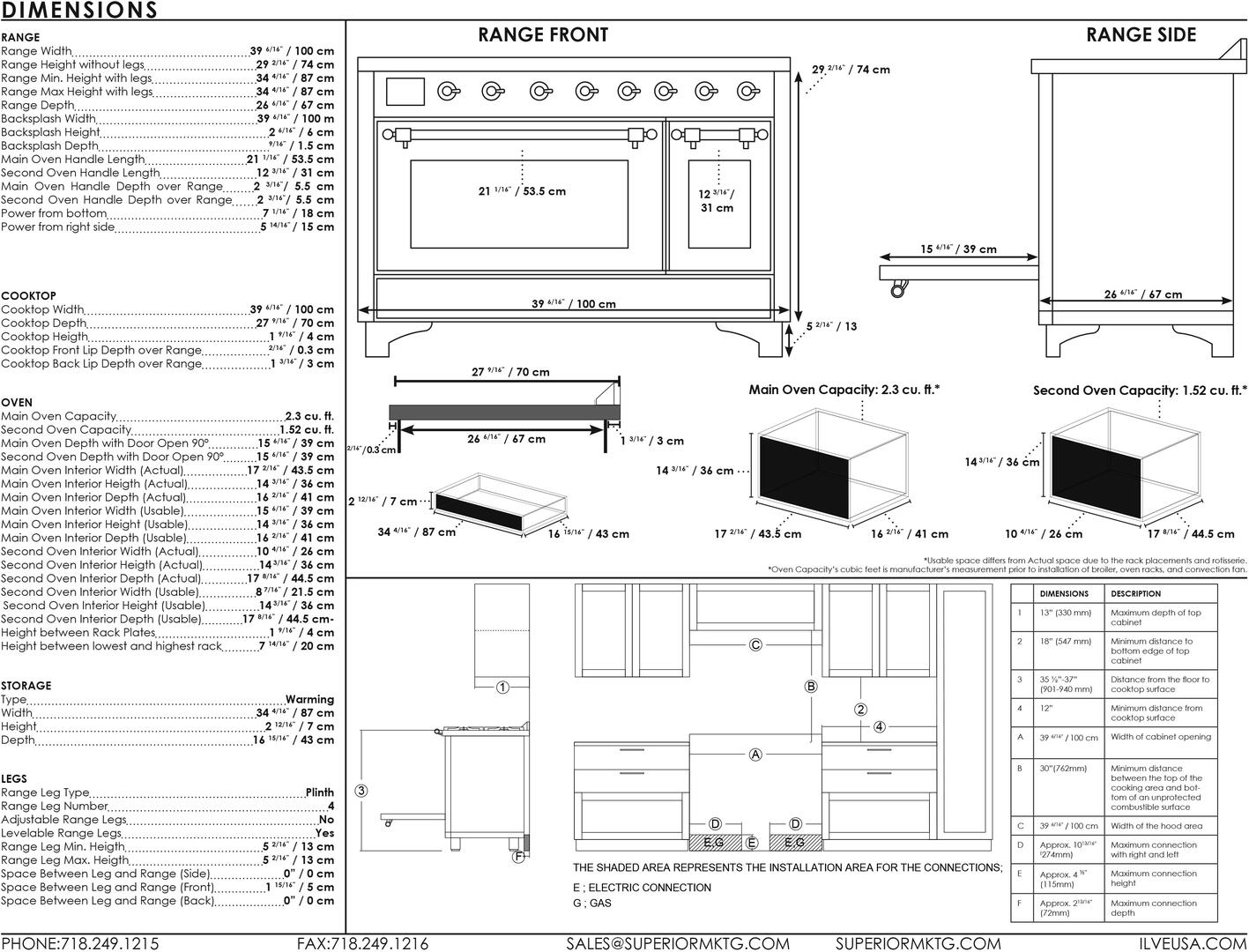 Ilve Majestic II UMDI10NS3SSC Freestanding Electric Range Stainless Steel, UMDI10-Dimensions