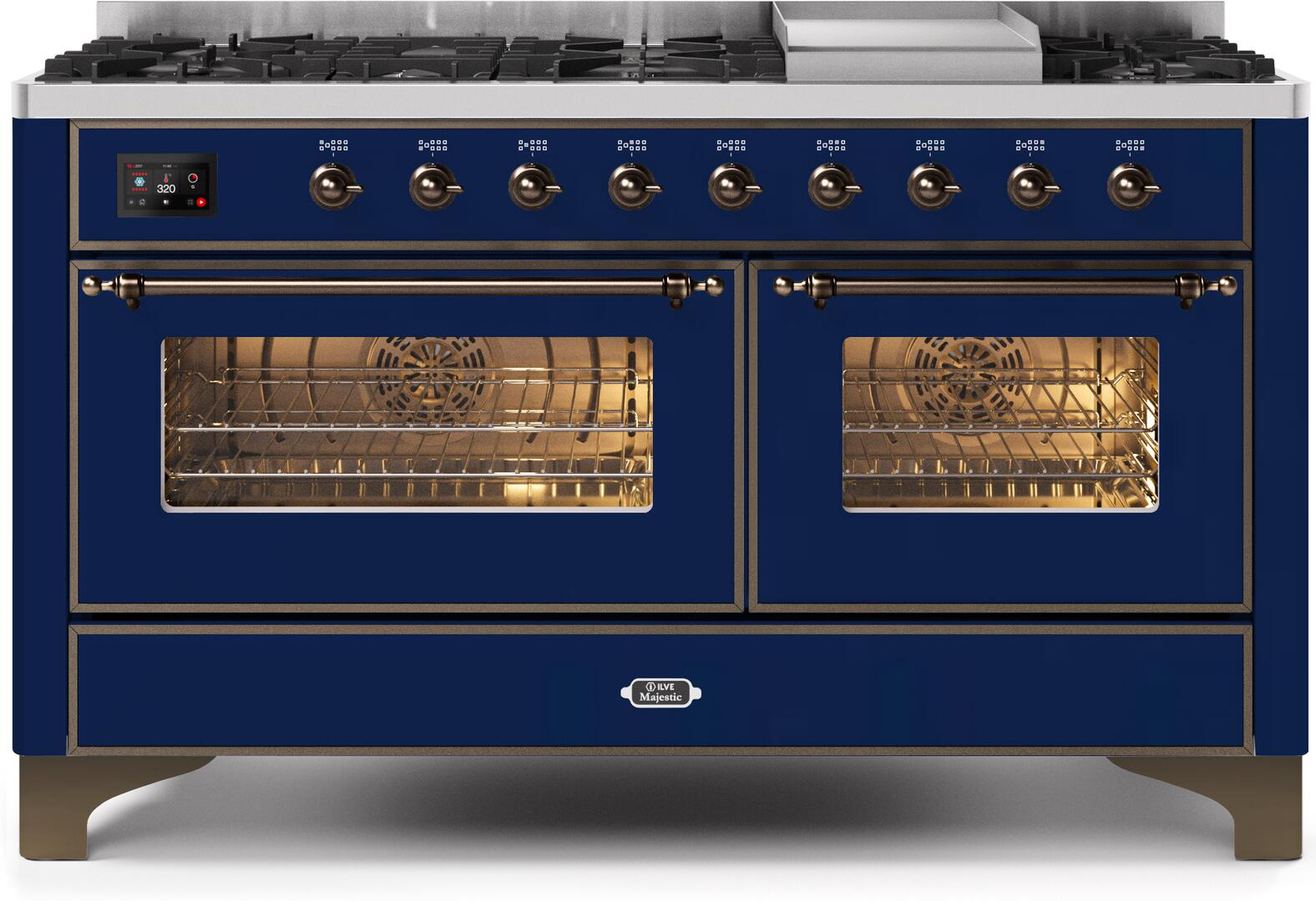 Ilve Majestic II UM15FDNS3MBBLP Freestanding Dual Fuel Range Blue, UM15FDNS3MBBLP-Front-CD-A