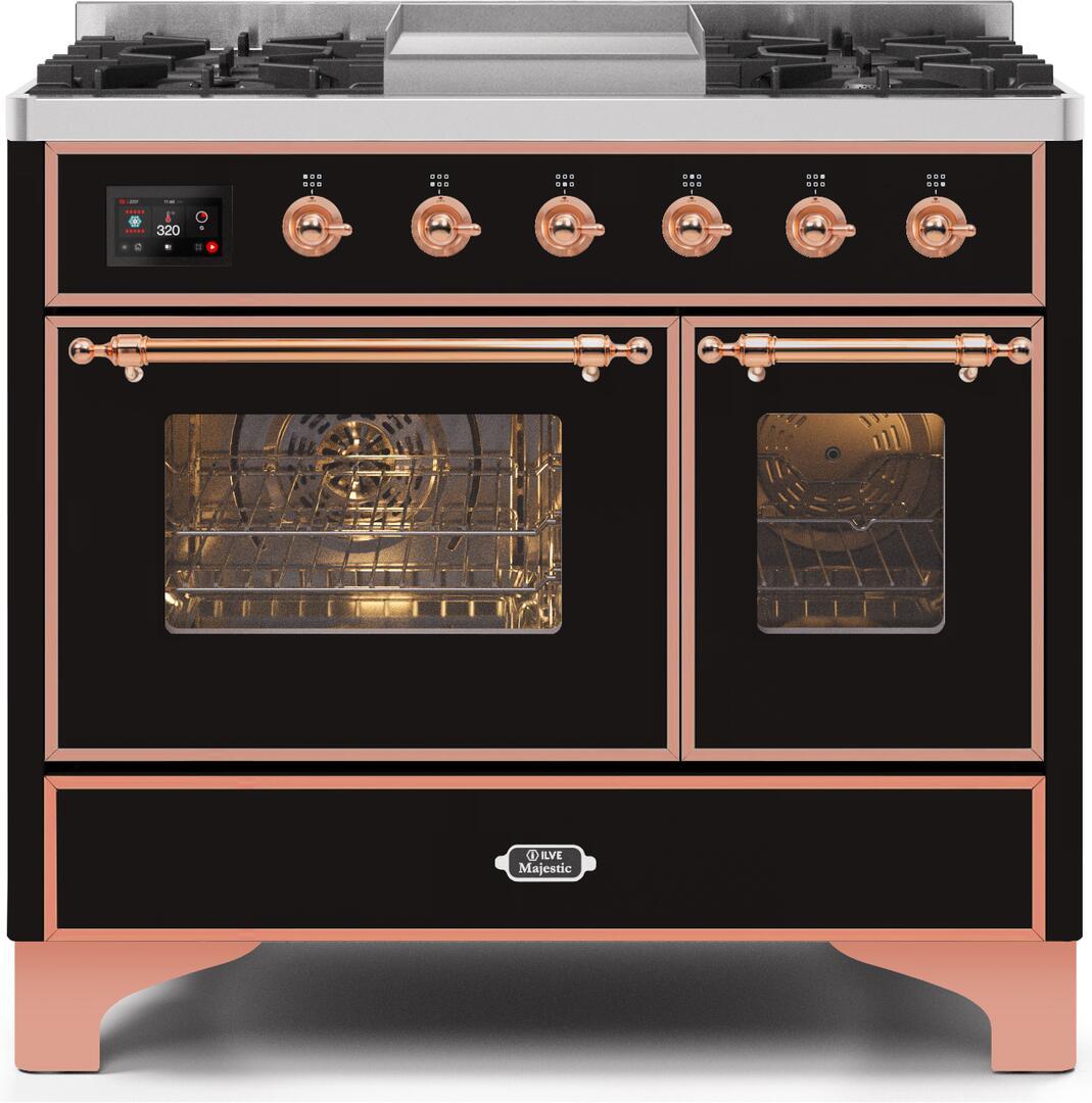 Ilve Majestic II UMD10FDNS3BKPLP Freestanding Dual Fuel Range Black, UMD10FDNS3BKPLP-Front-CD-A