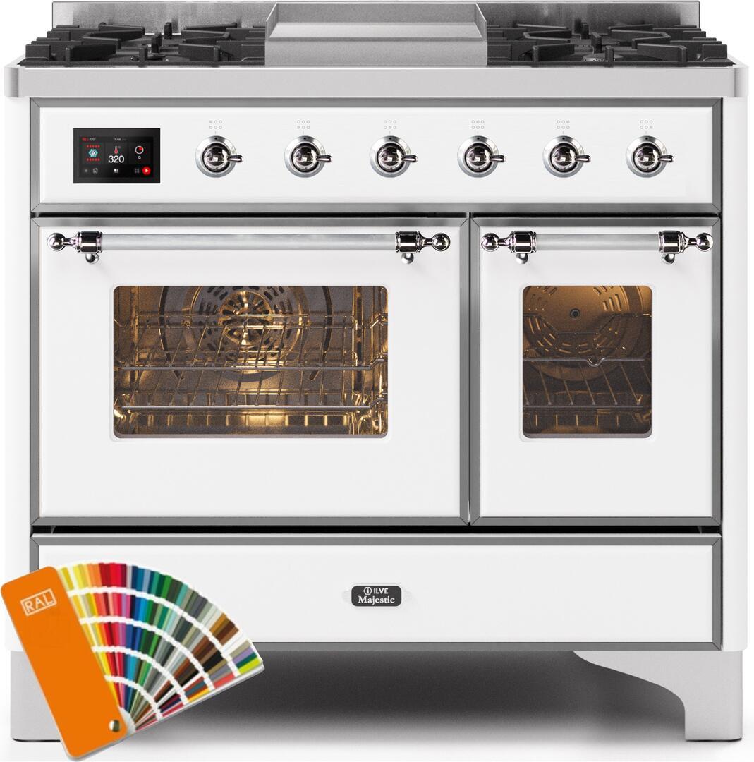 Ilve Majestic II UMD10FDNS3RALC Freestanding Dual Fuel Range Custom Color, UMD10FDNS3RALCNG-Front-CD-A