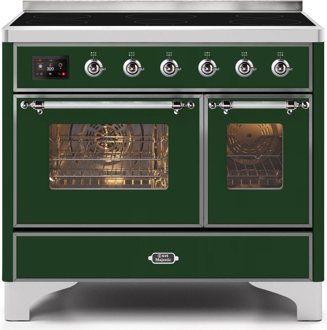 Ilve Majestic II UMDI10NS3EGC Freestanding Electric Range Green, UMDI10NS3EGC-Front-CD-A
