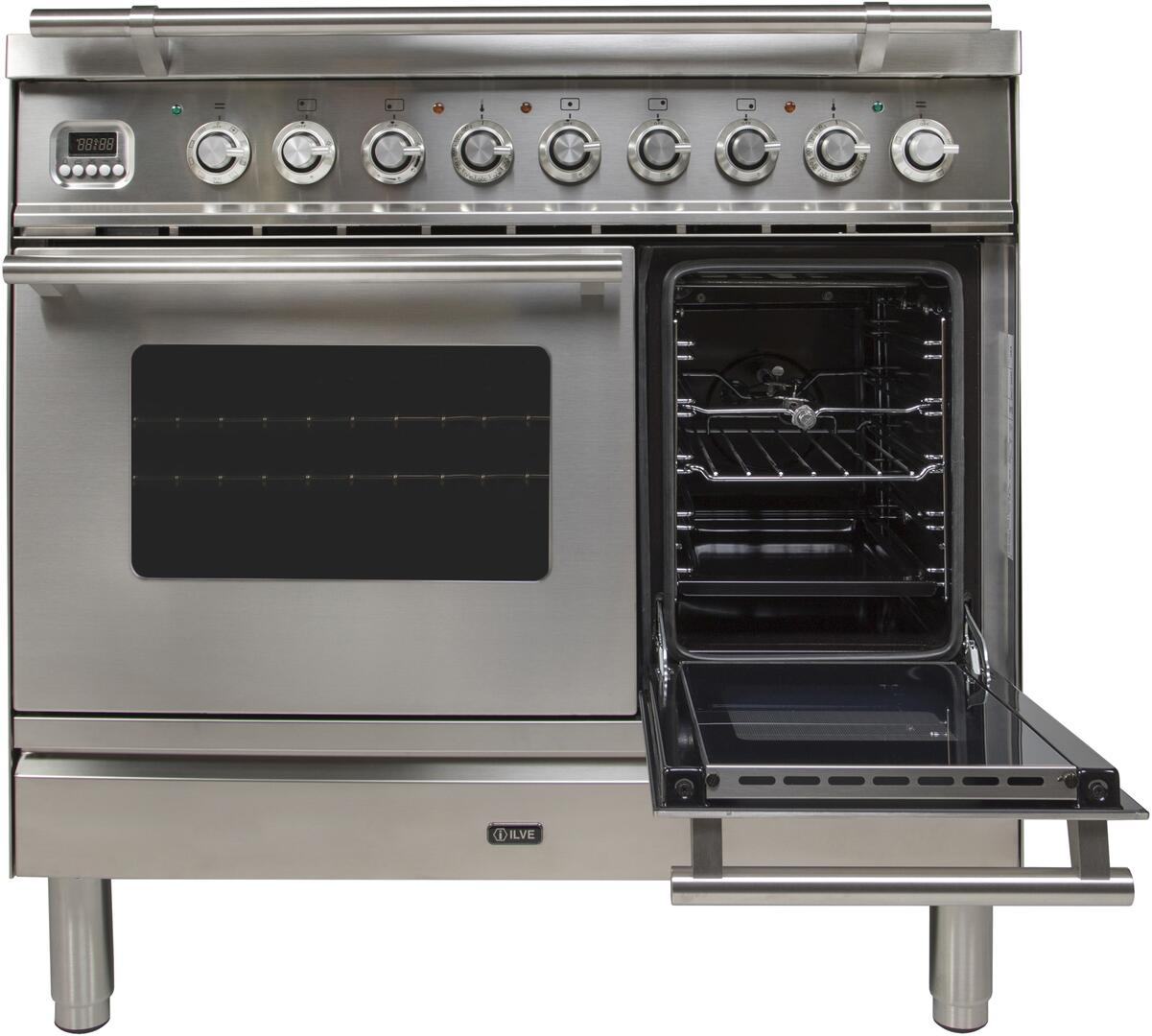 Ilve Professional Plus UPDW90FDMPI Freestanding Dual Fuel Range Stainless Steel, Small Oven Door Opened