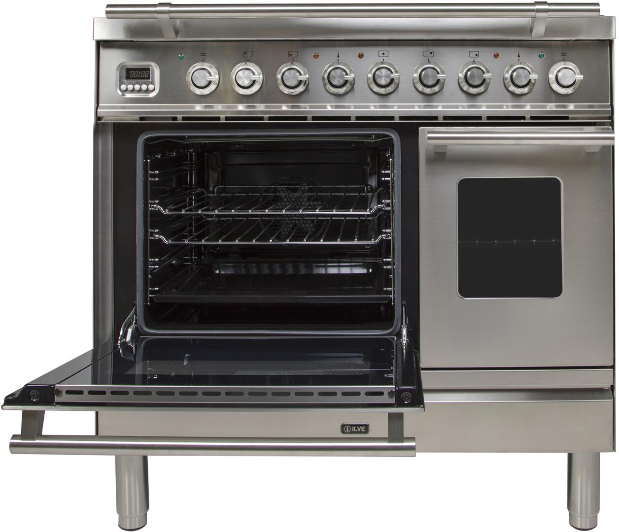 Ilve Professional Plus UPDW90FDMPI Freestanding Dual Fuel Range Stainless Steel, Main Oven Door Opened