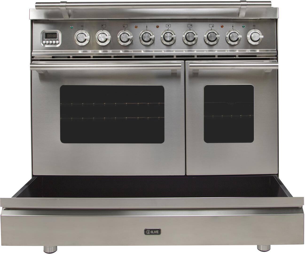 Ilve Professional Plus UPDW90FDMPI Freestanding Dual Fuel Range Stainless Steel, Storage Drawer Opened