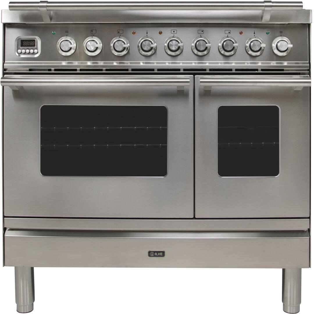 Ilve Professional Plus UPDW90FDMPI Freestanding Dual Fuel Range Stainless Steel, Front View