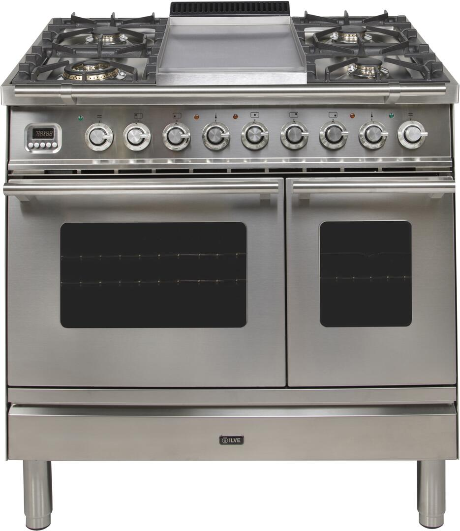 Ilve Professional Plus UPDW90FDMPI Freestanding Dual Fuel Range Stainless Steel, View with Griddle