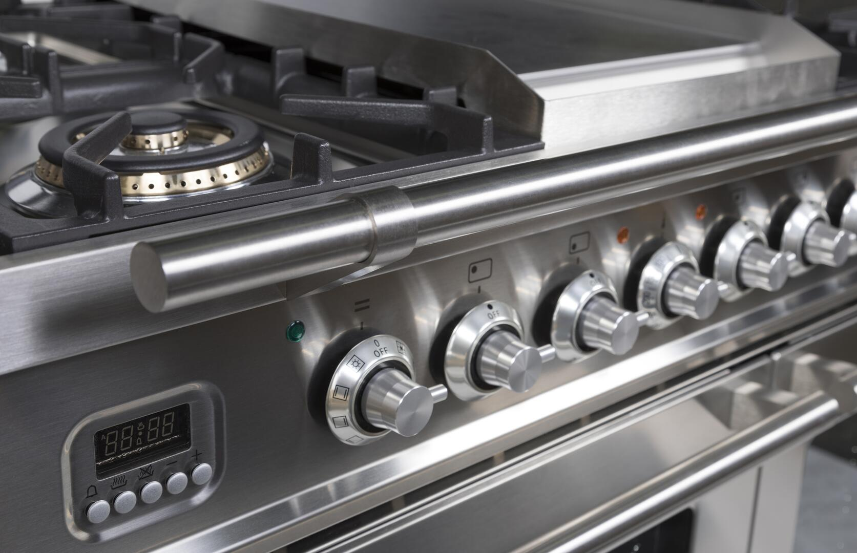 Ilve Professional Plus UPDW90FDMPI Freestanding Dual Fuel Range Stainless Steel, Knobs View