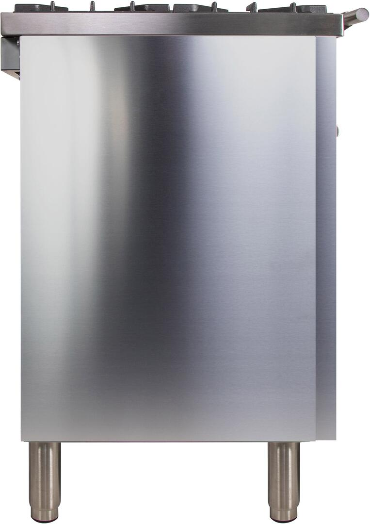 Ilve Professional Plus UPDW90FDMPI Freestanding Dual Fuel Range Stainless Steel, Side View