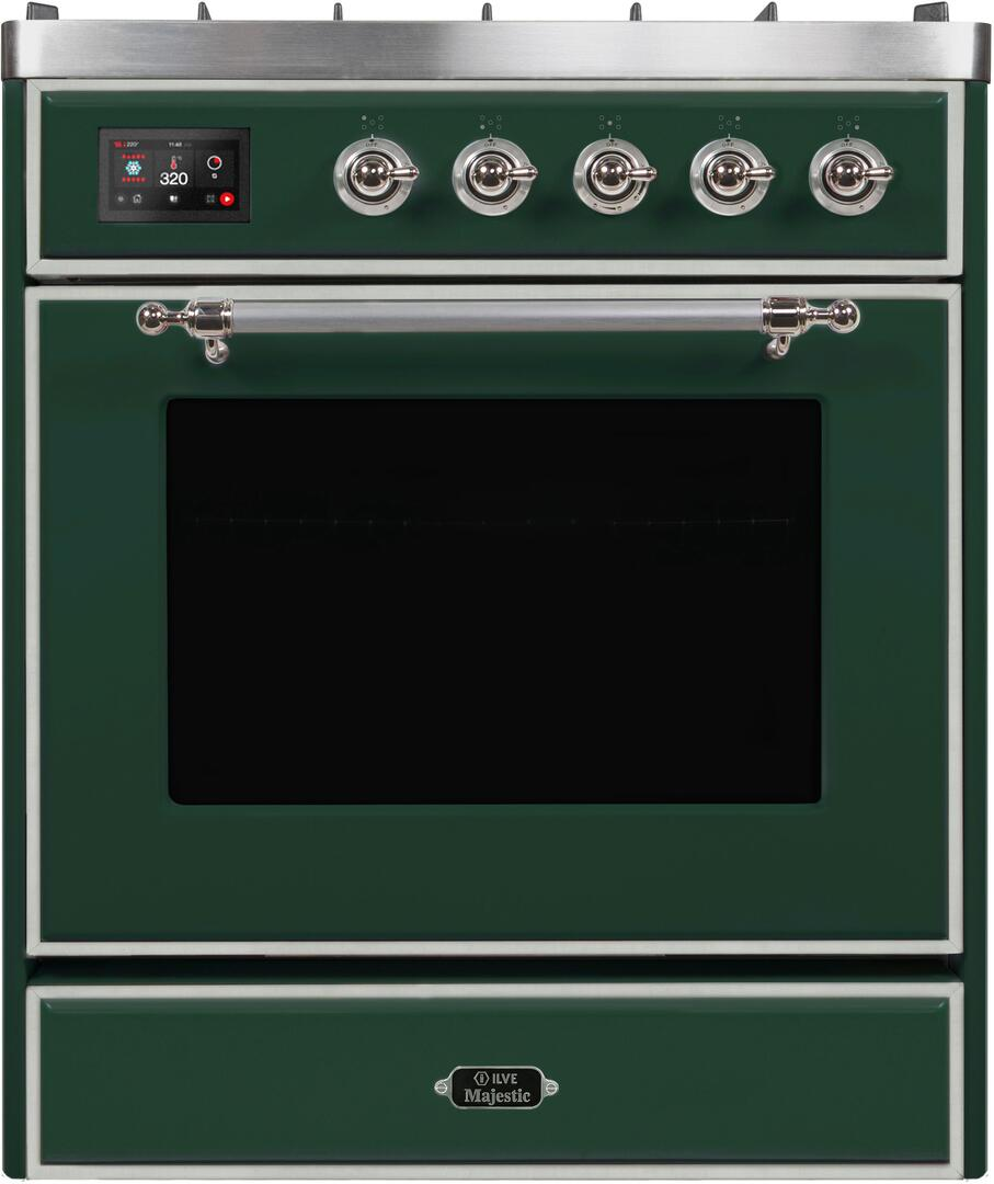 Ilve Majestic II UM30DNE3EGC Freestanding Dual Fuel Range Green, UM30DNE3EGCNG-Front-CD