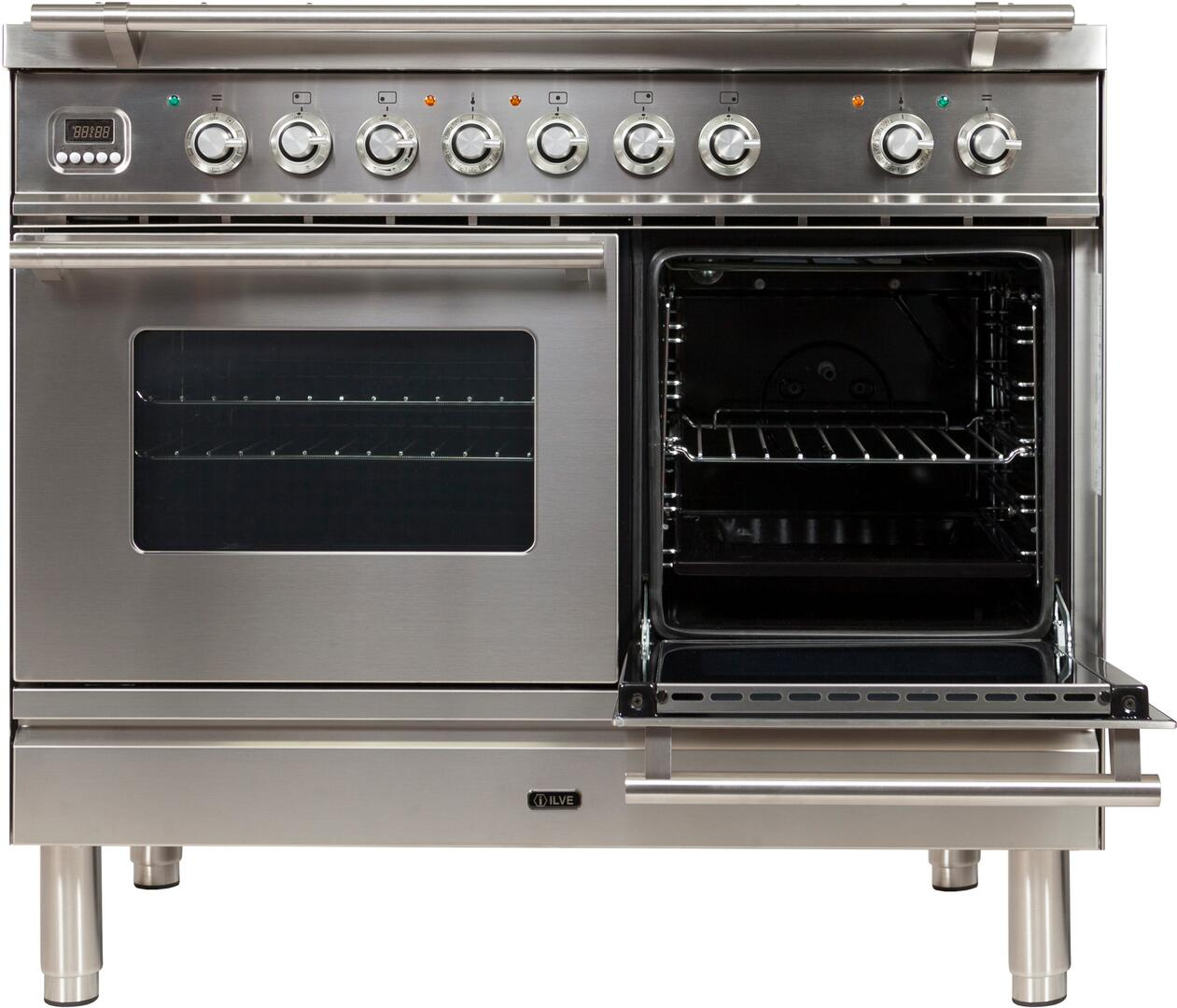 Ilve Professional Plus UPDW100FDMPILP Freestanding Dual Fuel Range Stainless Steel, UPDW100FDMPI Secondary Oven Door Opened