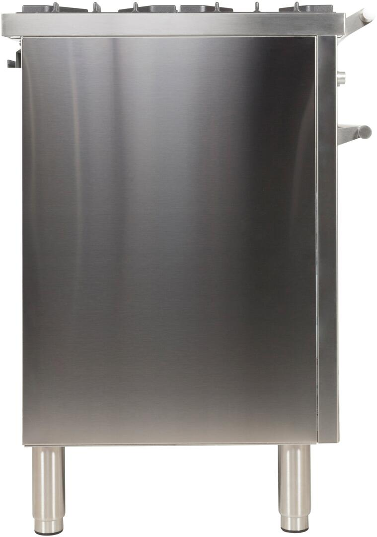 Ilve Professional Plus UPDW100FDMPILP Freestanding Dual Fuel Range Stainless Steel, UPDW100FDMPI Side View
