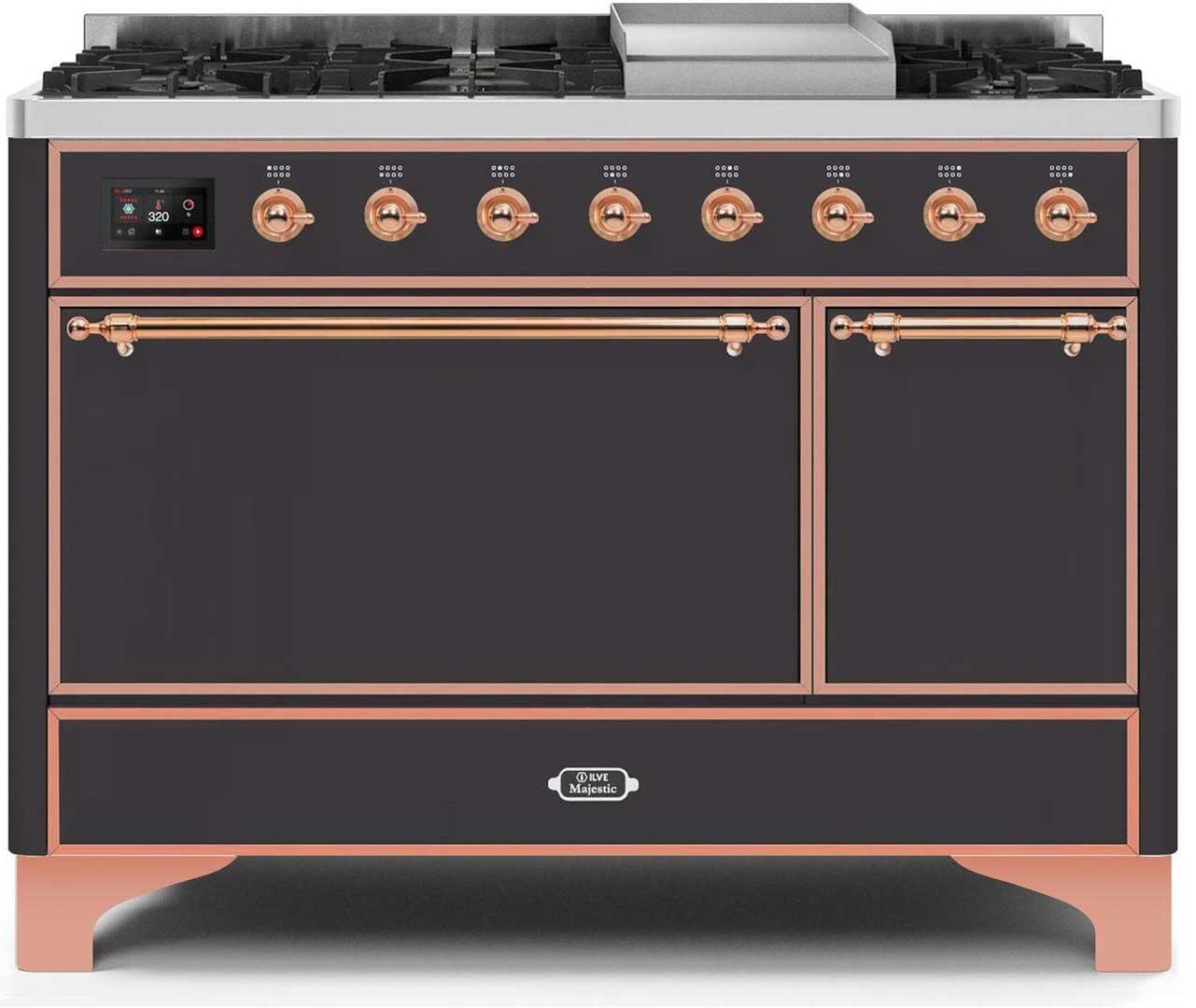 Ilve Majestic II UM12FDQNS3MGPLP Freestanding Dual Fuel Range Graphite, UM12FDQNS3MGPLP-Front-CD-A