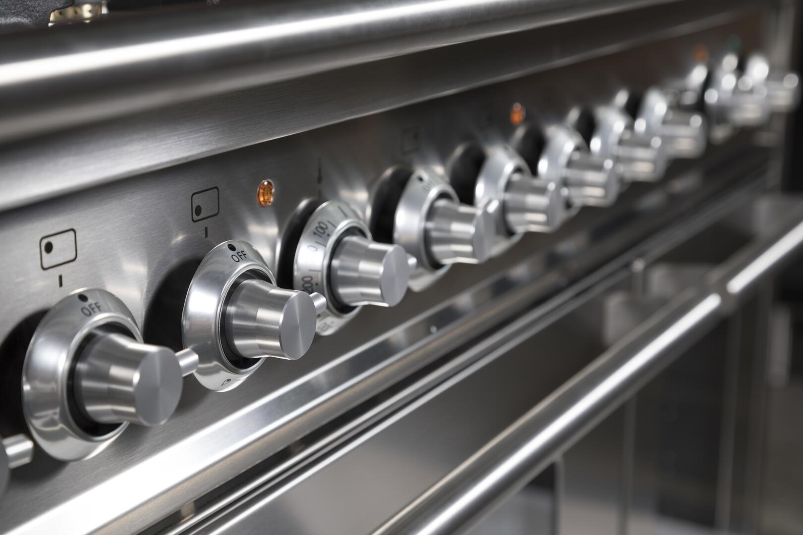 Ilve Professional Plus UPW120FDMPI Freestanding Dual Fuel Range Stainless Steel, Knobs View