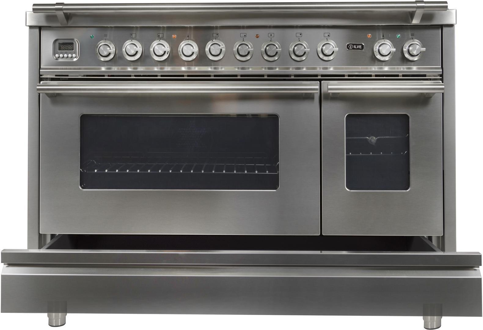 Ilve Professional Plus UPW120FDMPI Freestanding Dual Fuel Range Stainless Steel, Dishwarming Drawer