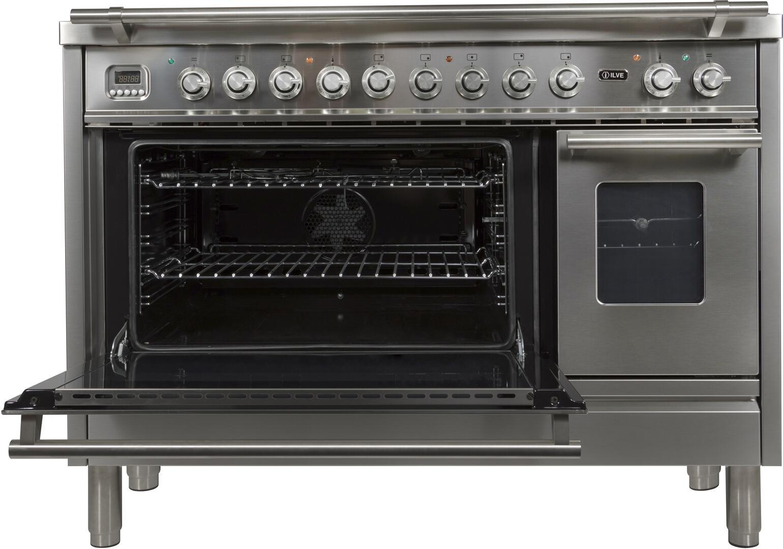 Ilve Professional Plus UPW120FDMPI Freestanding Dual Fuel Range Stainless Steel, Main Door Open View