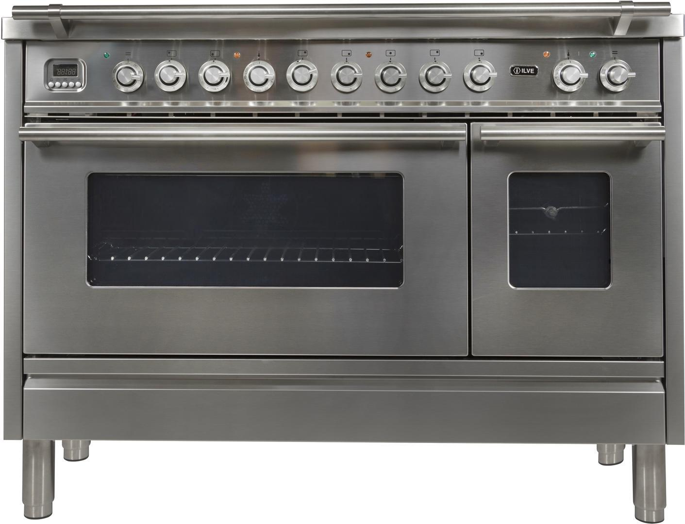 Ilve Professional Plus UPW120FDMPI Freestanding Dual Fuel Range Stainless Steel, Front View