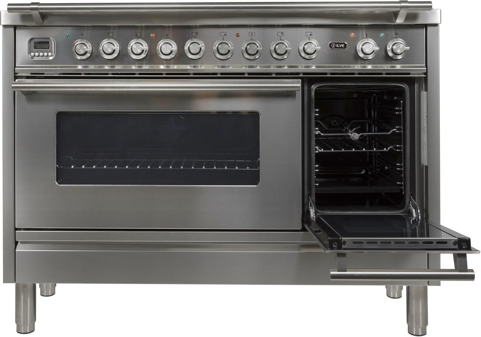 Ilve Professional Plus UPW120FDMPI Freestanding Dual Fuel Range Stainless Steel, Secondary Door Opened