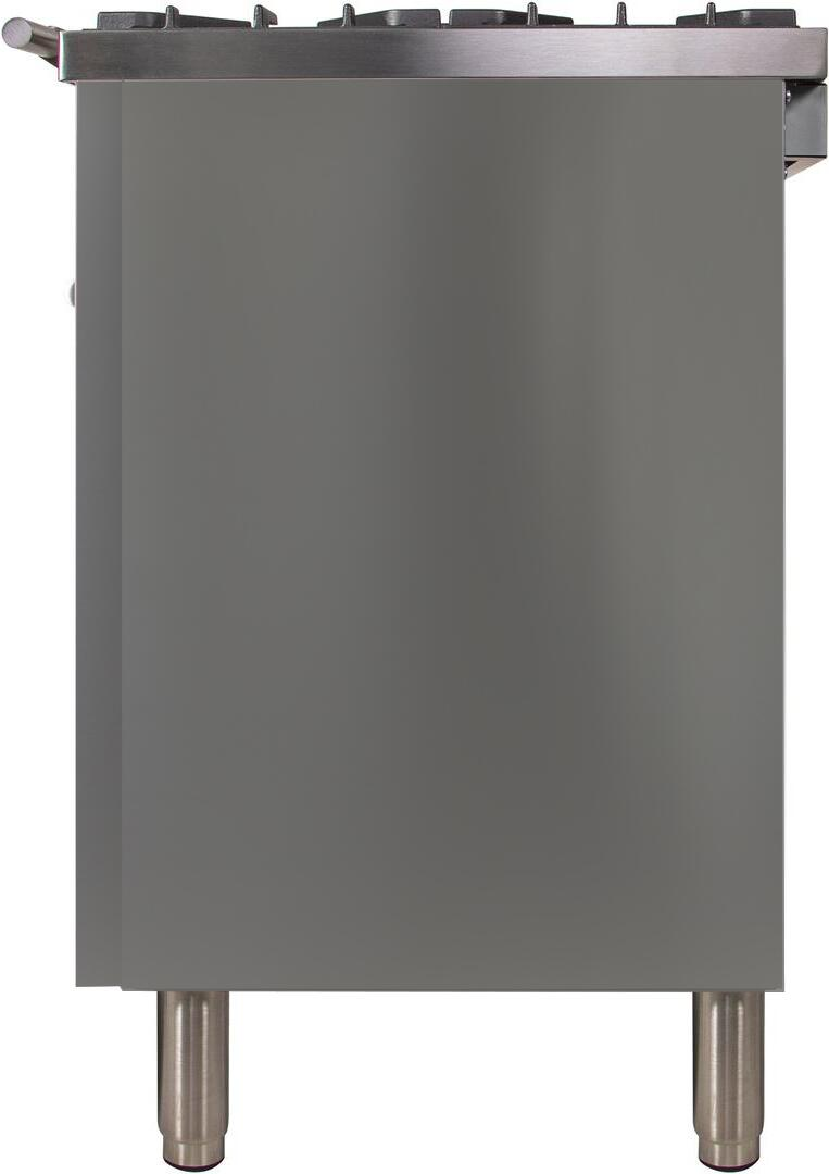 Ilve Professional Plus UPW120FDMPI Freestanding Dual Fuel Range Stainless Steel, Side View