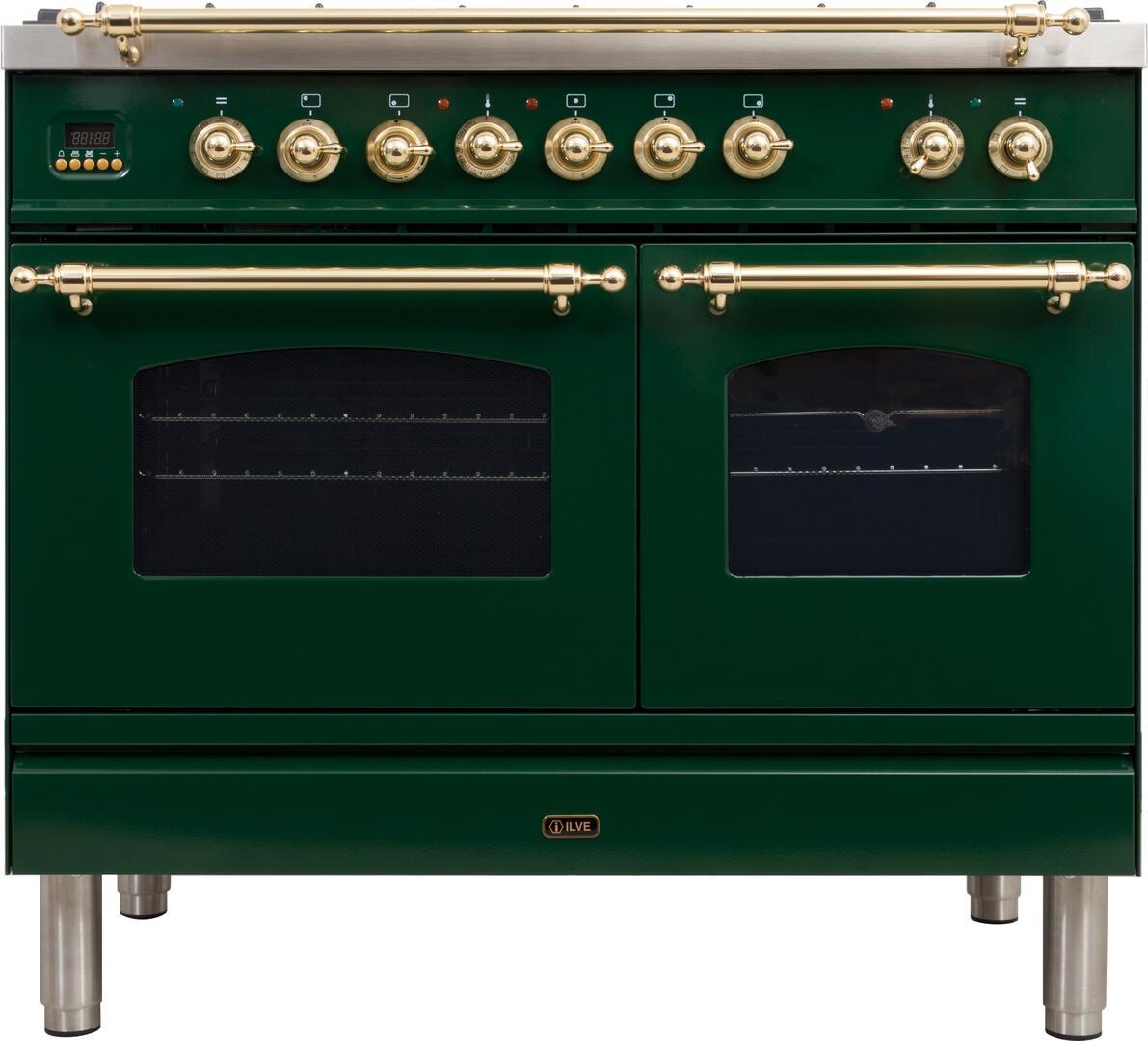 Ilve Nostalgie UPDN100FDMPVSLP Freestanding Dual Fuel Range Green, UPDN100FDMPVSLP Liquid Propane Range