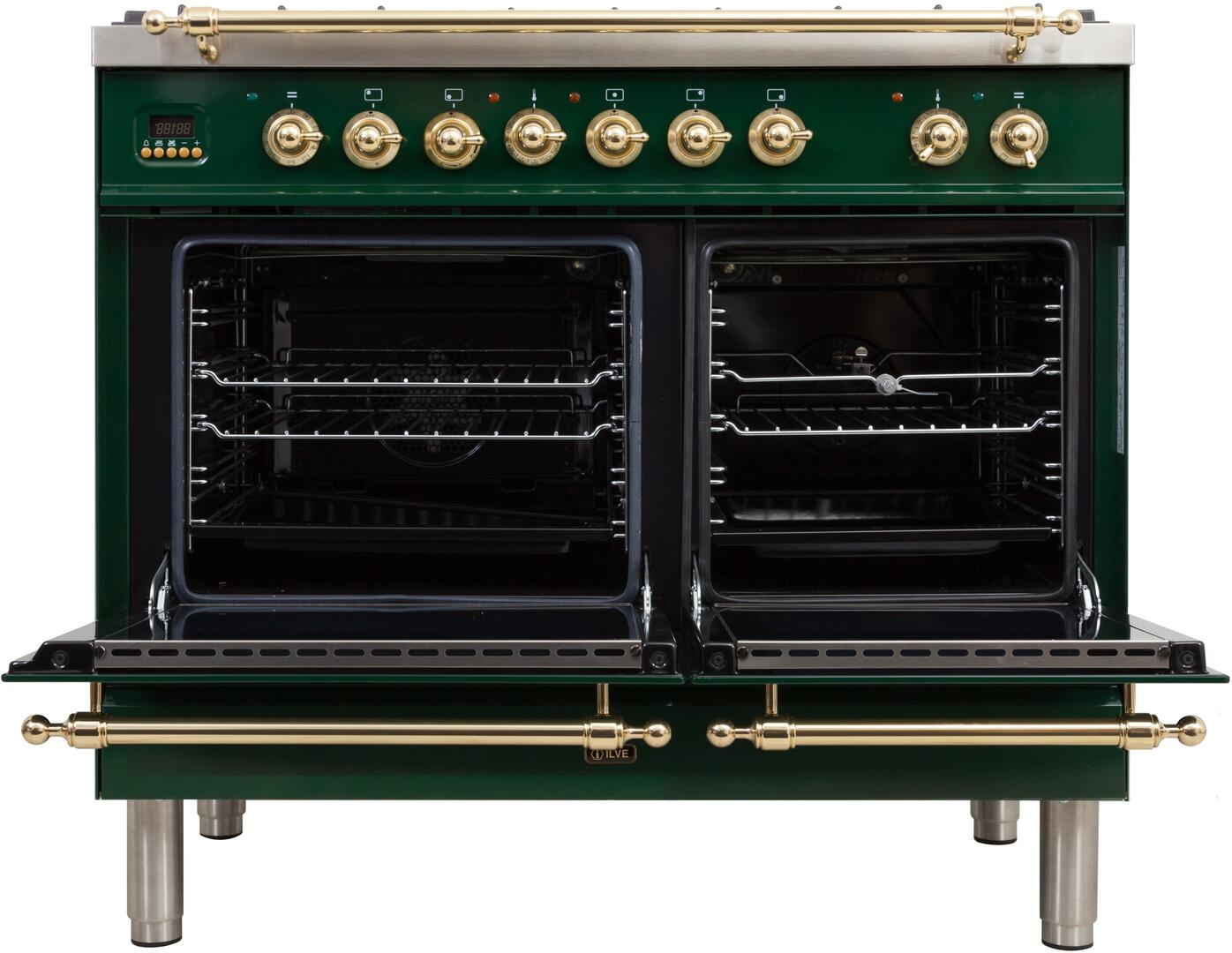 Ilve Nostalgie UPDN100FDMPVSLP Freestanding Dual Fuel Range Green, UPDN100FDMPVSLP Oven Doors Opened