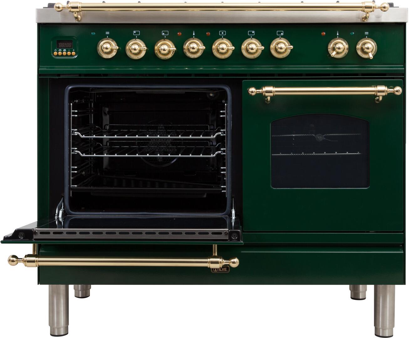 Ilve Nostalgie UPDN100FDMPVSLP Freestanding Dual Fuel Range Green, UPDN100FDMPVSLP Main Oven Door Opened