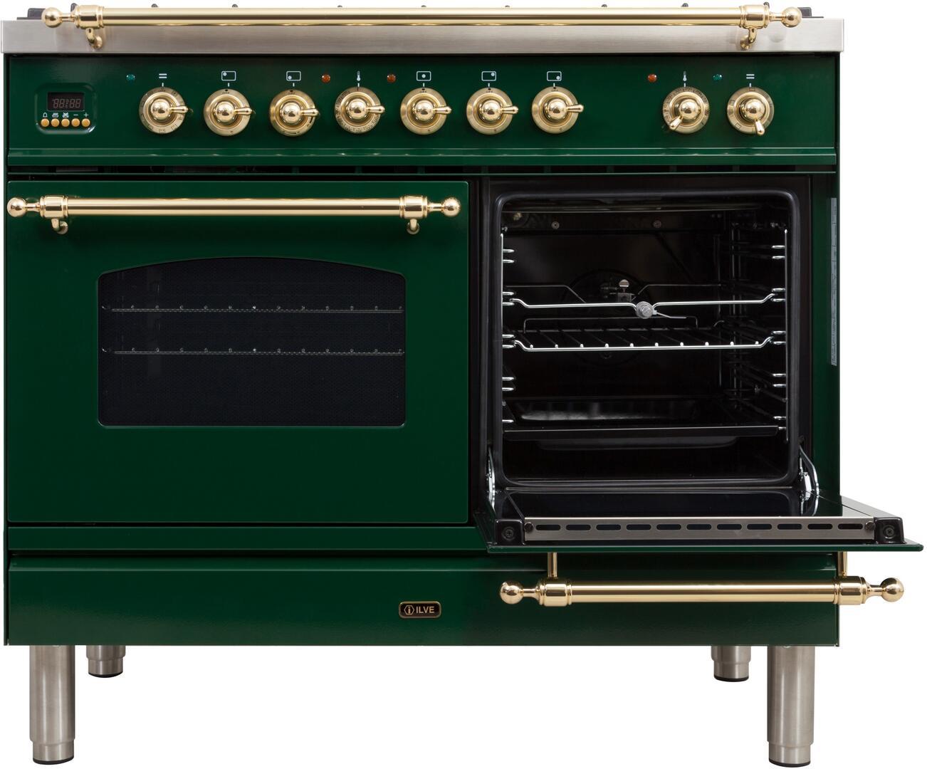 Ilve Nostalgie UPDN100FDMPVSLP Freestanding Dual Fuel Range Green, UPDN100FDMPVSLP Secondary Oven Opened