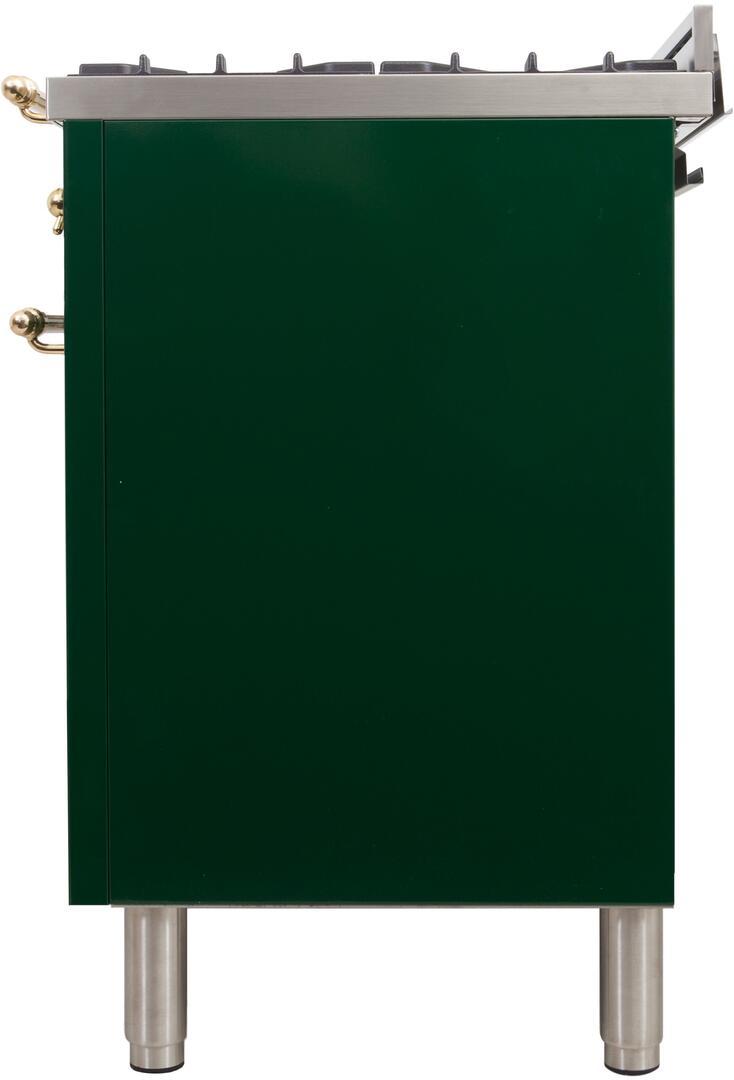 Ilve Nostalgie UPDN100FDMPVSLP Freestanding Dual Fuel Range Green, UPDN100FDMPVSLP Side View