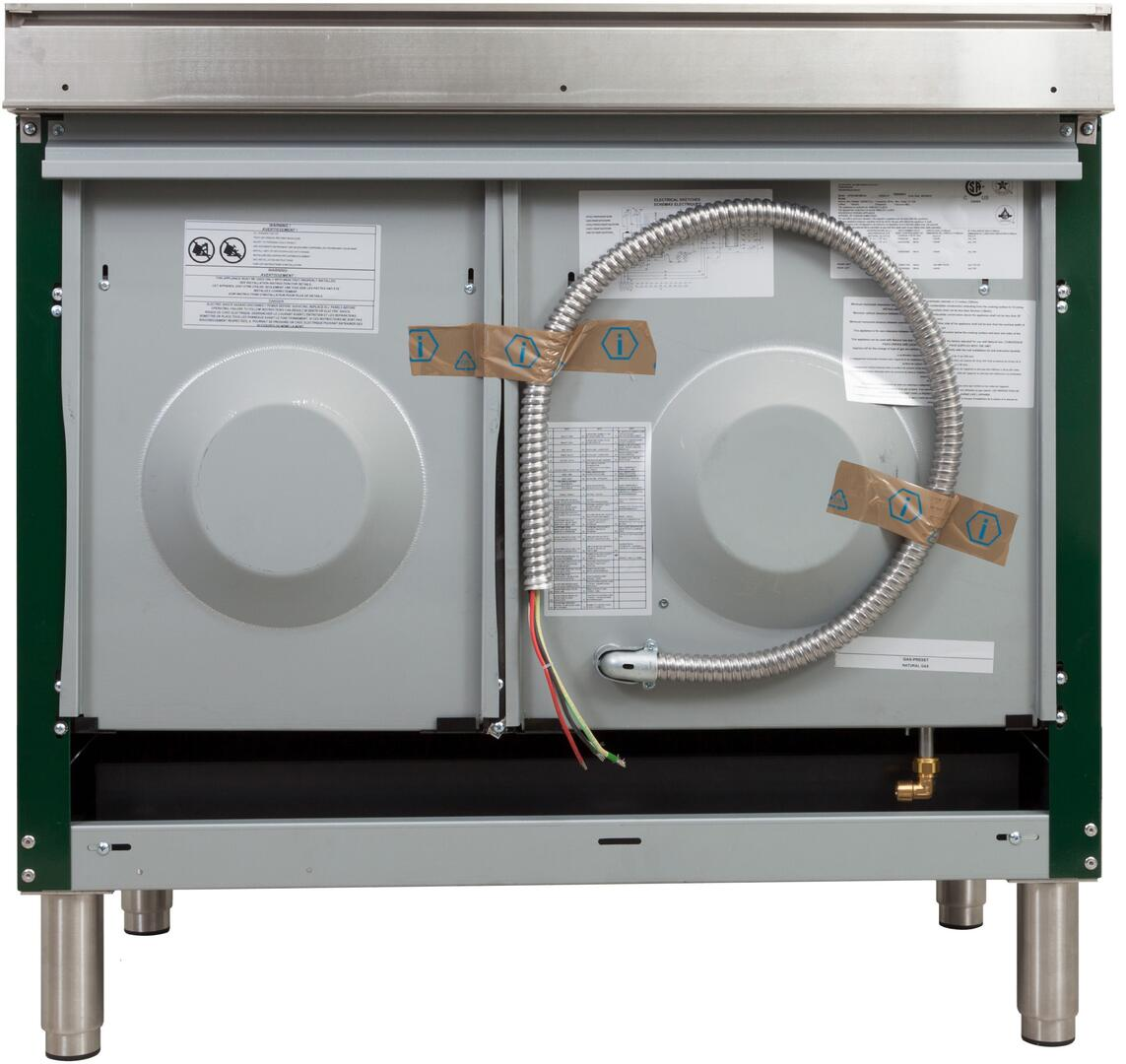 Ilve Nostalgie UPDN100FDMPVSLP Freestanding Dual Fuel Range Green, UPDN100FDMPVSLP Back View