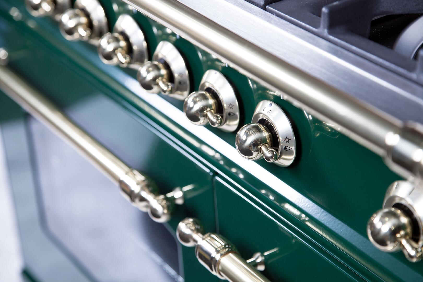 Ilve Nostalgie UPDN100FDMPVSLP Freestanding Dual Fuel Range Green, UPDN100FDMPVSLP Details