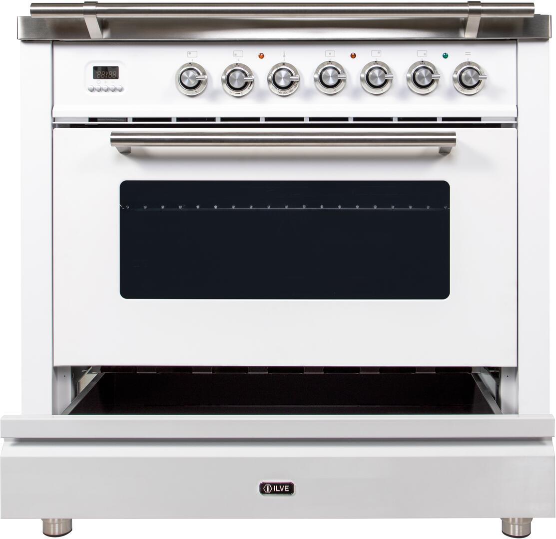Ilve Professional Plus UPW90FDVGGB Freestanding Gas Range White, UPW90FDVGGB Dishwarming Drawer