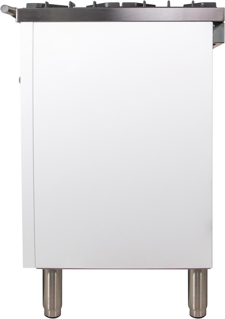 Ilve Professional Plus UPW90FDVGGB Freestanding Gas Range White, UPW90FDVGGB Side View