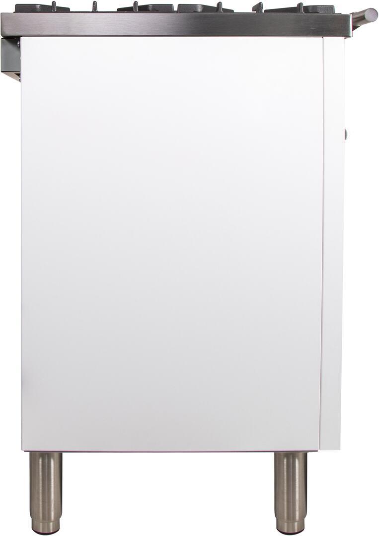 Ilve Professional Plus UPW90FDVGGB Freestanding Gas Range White, UPW90FDVGGB Side View 2