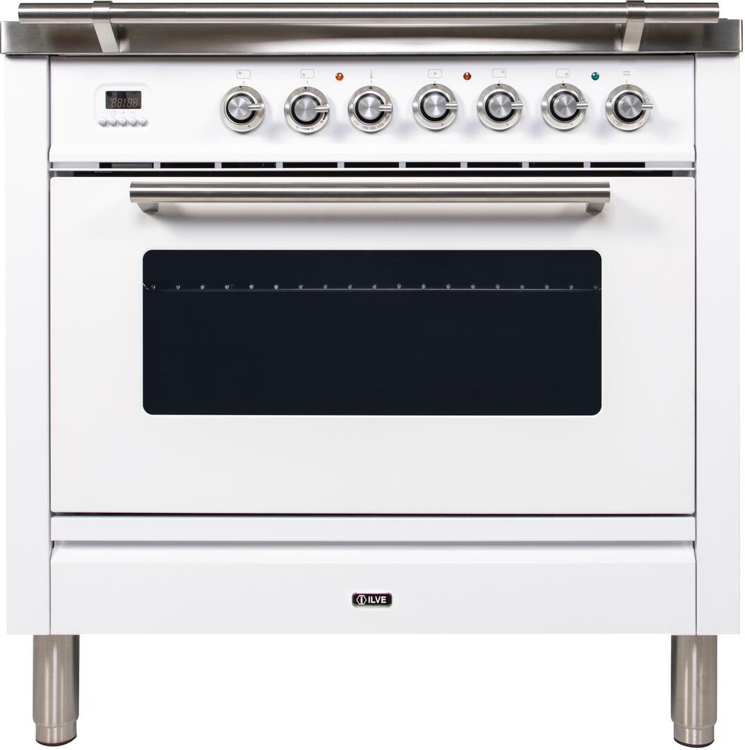 Ilve Professional Plus UPW90FDVGGB Freestanding Gas Range White, UPW90FDVGGB Front View