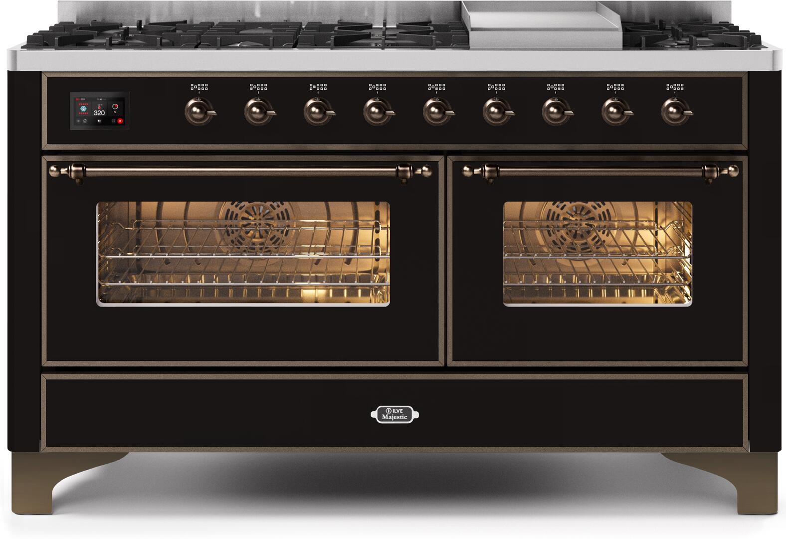 Ilve Majestic II UM15FDNS3BKBLP Freestanding Dual Fuel Range Black, UM15FDNS3BKBLP-Front-CD-A