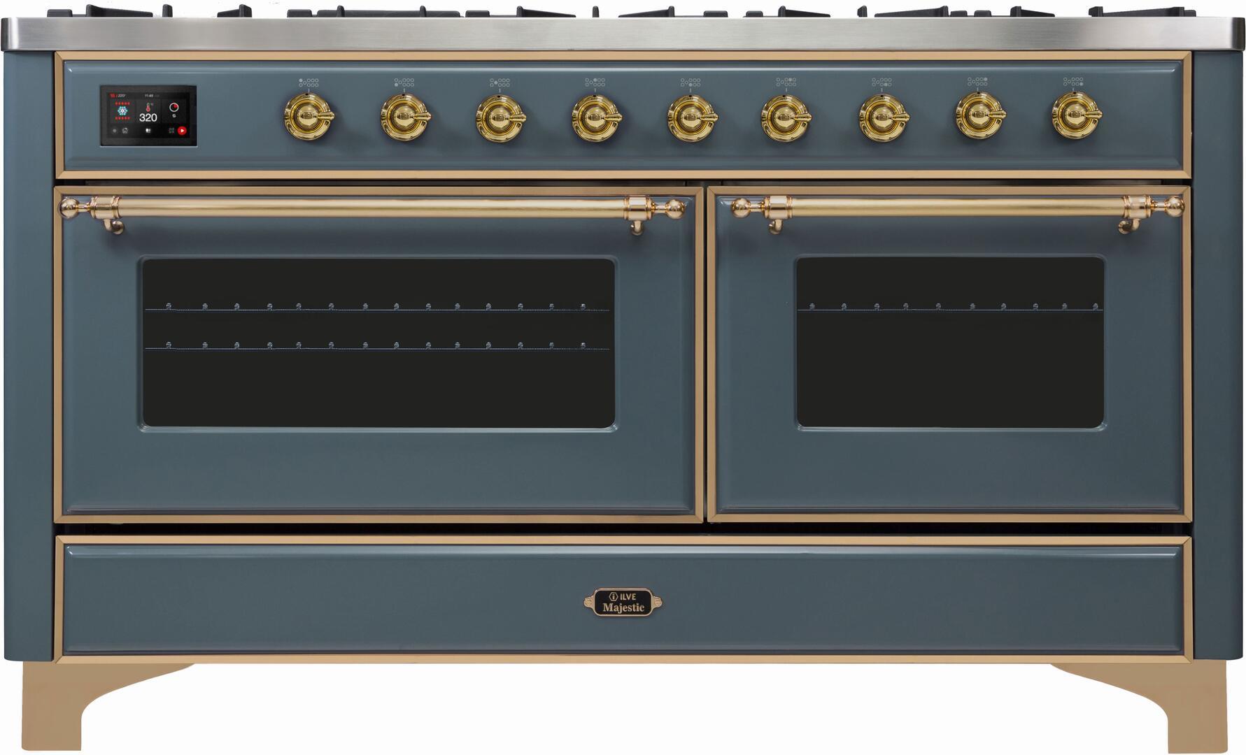 Ilve Majestic II UM15FDNS3BGGLP Freestanding Dual Fuel Range Blue Grey, UM15FDNS3GUGLP-Front-CD