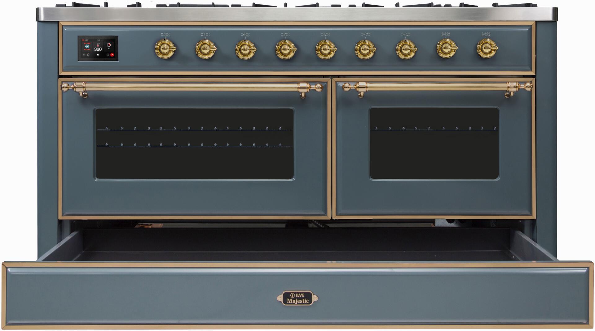 Ilve Majestic II UM15FDNS3BGGLP Freestanding Dual Fuel Range Blue Grey, UM15FDNS3GUGLP-Front-CD-OS