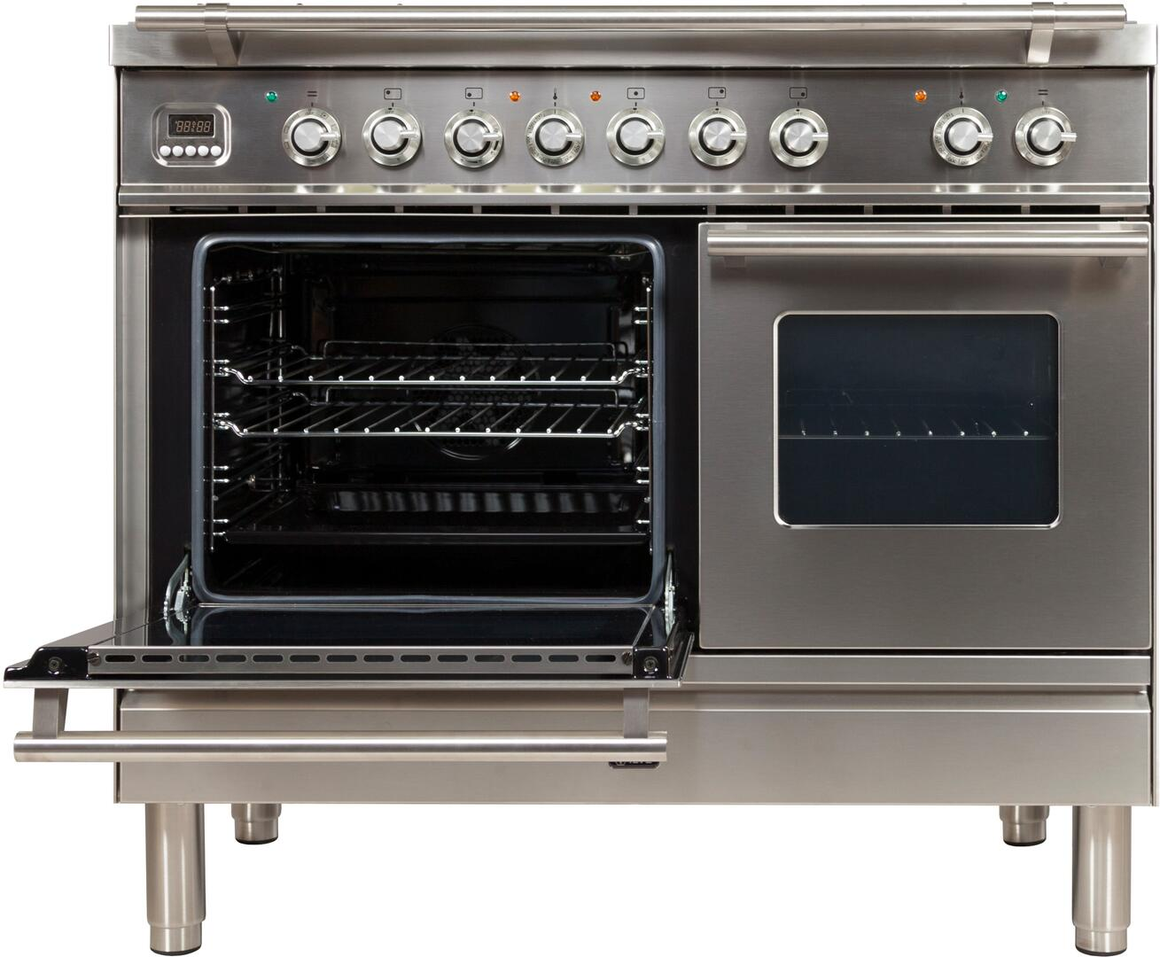Ilve Professional Plus UPDW100FDMPI Freestanding Dual Fuel Range Stainless Steel, UPDW100FDMPI Main Oven Door Opened