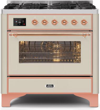 """UM096DNS3AWP 36"""" Majestic II Series Dual Fuel Natural Gas Range with 6 Burners, 3.5 cu. ft. Oven Capacity, TFT Oven Control Display, Copper Trim, in Antique White"""