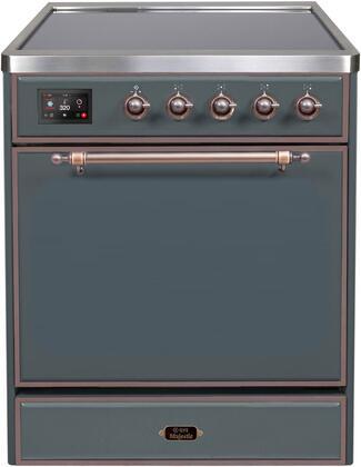 Ilve Majestic II UMI30QNE3BGB Freestanding Electric Range , Blue Grey Induction Range
