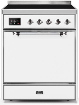 Ilve Majestic II UMI30QNE3WHC Freestanding Electric Range White, UMI30QNE3WHC-Front-CD-A