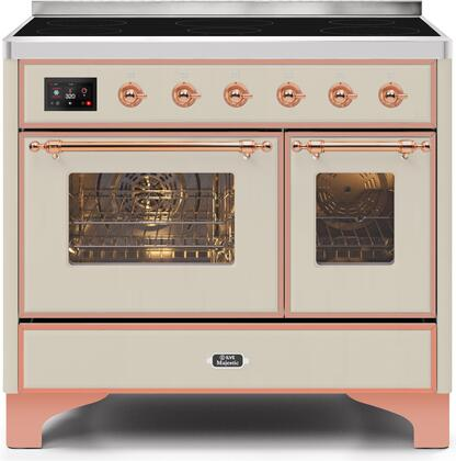 """UMDI10NS3AWP 40"""" Majestic II Series Induction Range with 6 Elements, 3.82 cu. ft. Total Oven Capacity, TFT Oven Control Display, Copper Trim, in Antique White"""