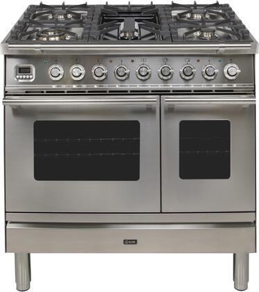 Ilve Professional Plus UPDW90FDMPILP Freestanding Dual Fuel Range Stainless Steel, UPW90FDMPI Professional Plus Double Oven Range