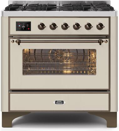 """UM096DNS3AWBLP 36"""" Majestic II Series Dual Fuel LP Range with 6 Burners, 3.5 cu. ft. Oven Capacity, TFT Oven Control Display, Bronze Trim, in Antique White"""