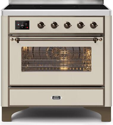 Ilve Majestic II UMI09NS3AWB Freestanding Electric Range Bisque, UMI09NS3AWB-Front-CD-A