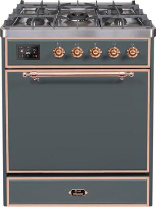 "UM30DQNE3/BGP 30"" Majestic II Series Freestanding Liquid Propane Dual Fuel Range with 5 Sealed Brass Non Stick Coated Burners, 3.5 cu. ft. Oven Capacity, TFT Oven Control Display, Blue Grey"