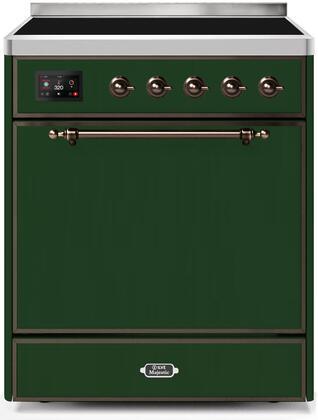 Ilve Majestic II UMI30QNE3EGB Freestanding Electric Range Green, UMI30QNE3EGB-Front-CD-A