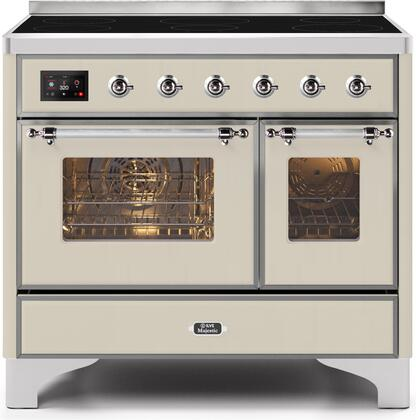 """UMDI10NS3AWC 40"""" Majestic II Series Induction Range with6 Elements, 3.82 cu. ft. Total Oven Capacity, TFT Oven Control Display, Chrome Trim, in Antique White"""