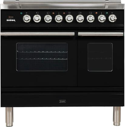 "UPDW90FDMPN 36"" Professional Plus Dual Fuel Range with 5 Sealed Burners, Double Oven, Griddle, Rotisserie, and Warming Drawer, in Glossy Black"