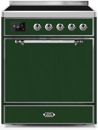 Ilve Majestic II UMI30QNE3EGC Freestanding Electric Range Green, UMI30QNE3EGC-Front-CD-A